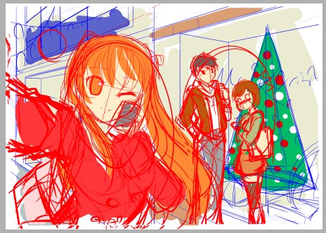 『お兄ちゃんのクリスマスデートをチェキ☆』(過程5)